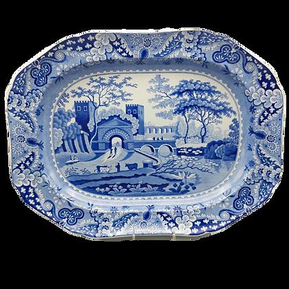 "19th C. Staffordshire Transferware ""Castle"" Pattern Platter"
