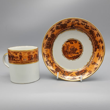 19th C. Chinese Export Coffee Cup & Saucer – Genre Scenes