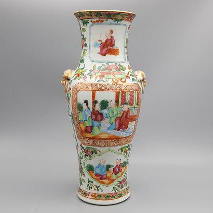 19th Century Chinese Export Canton Rose Mandarin Vase #4