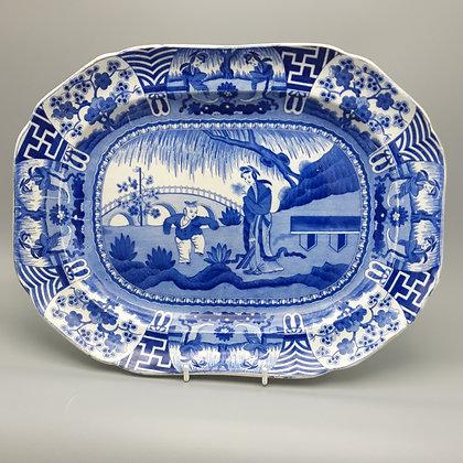 """19th C. Spode Transferware """"Long Eliza"""" Pattern Platter"""