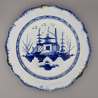 Liverpool Pearlware Blue & White Chinese Pattern Plate 1785-1810