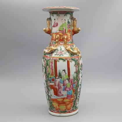 19th Century Chinese Export Canton Rose Mandarin Vase #3