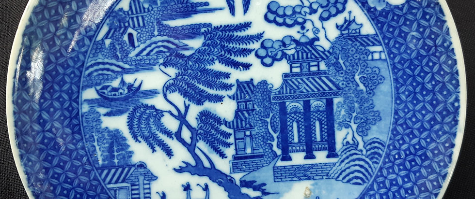 19th C. Japanese Blue and White Igezara Transferware Plate – Willow Pattern