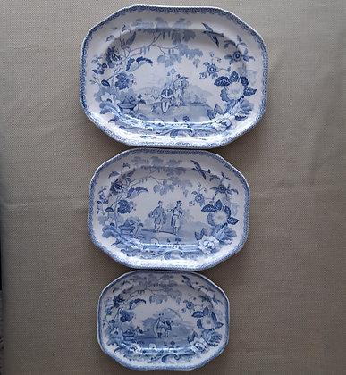 "Three 19th C. Transferware ""Mandarin Opaque"" Pattern Platters"