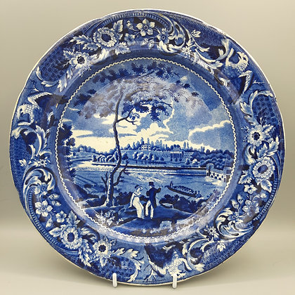 "19th C. Historical Staffordshire Transferware Plate – ""Fair Mount"""