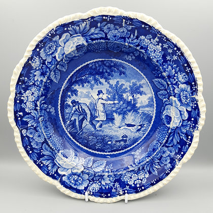 "19th C. Herculaneum Transferware Plate – ""Field Sports"""