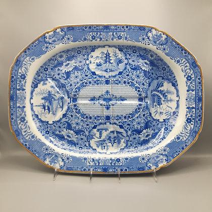 "Very Large 19th C. Spode Transferware Platter – ""Net"" Pattern"