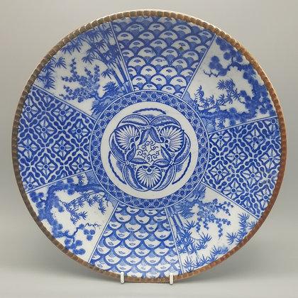 19th C. Japanese Izegara Transferware Large  Dish or Platter