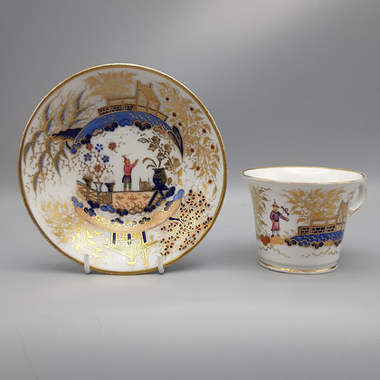 19th C Chamberlain Worcester Chinoiserie Cup and Saucer