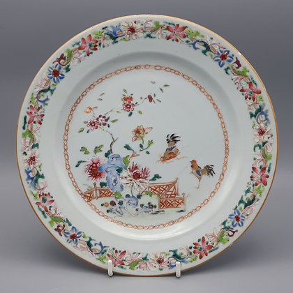 18th Century Chinese Export Famille Rose Plate with Roosters