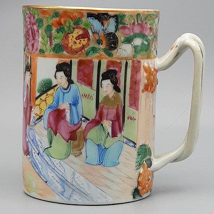 19th Century Chinese Export Canton Rose Mandarin Mug