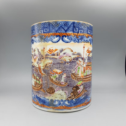 18th Century Massive Chinese Export Cider Mug with Harbor Scene