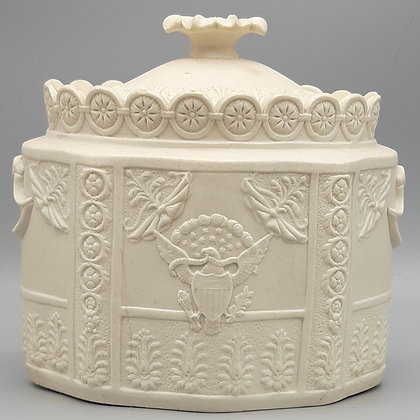 19th C. American Market Castleford-Type Covered Sugar Bowl