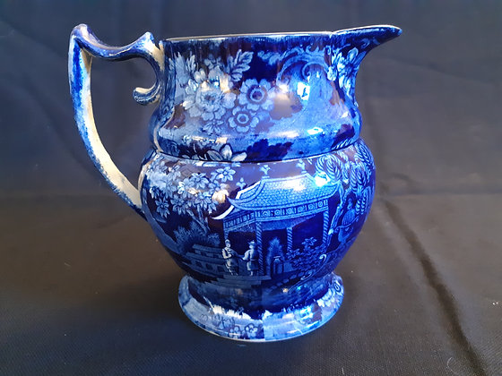 Large 19th C. Dark Blue Staffordshire Transferware Pitcher