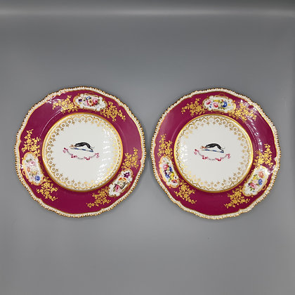 19th C. Pair of Large English Porcelain Armorial Plates - Briscoe