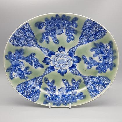 19th C. Japanese Izegara Transferware Platter - Celadon