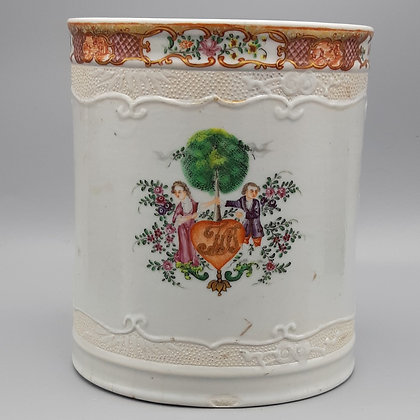 Very Large 18th C. Chinese Export Porcelain Famille Rose Monogrammed Tankard