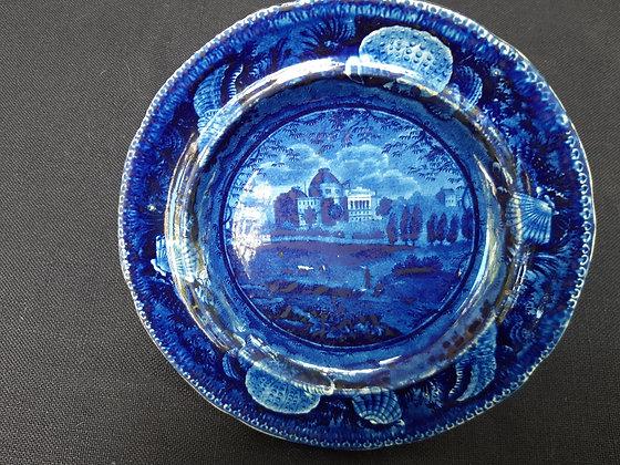19th C. Staffordshire Transferware Dark Blue U.S. Capitol Dish