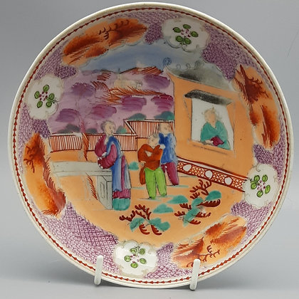 """19th C. New Hall Chinoiserie Dish – """"Boy in the Window"""" Pattern #2"""