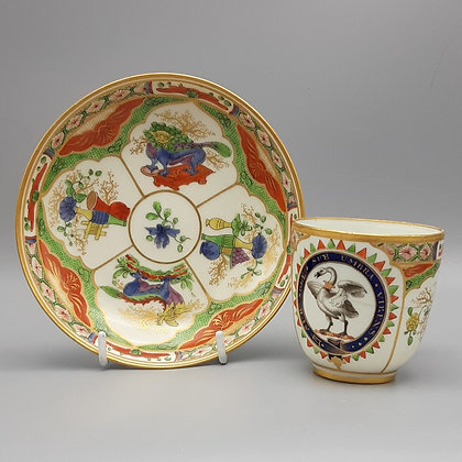 19th C English Chamberlain Worcester Dragon-in-Compartment Armorial Cup & Saucer