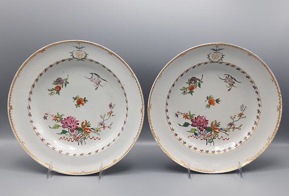 Pair of 18th C. Chinese Export Famille Rose Plates with Crest & Monogram