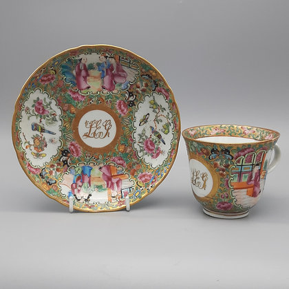 : 19th C. Chinese Export Monogrammed Rose Mandarin Cup & Saucer