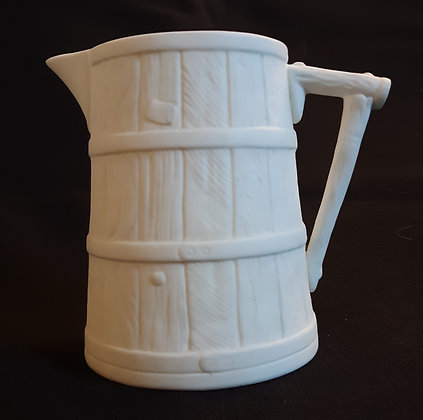 Small 19th Century Parian Barrel-Shaped Pitcher