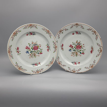 18th C. Chinese Export Famille Rose Floral Plates