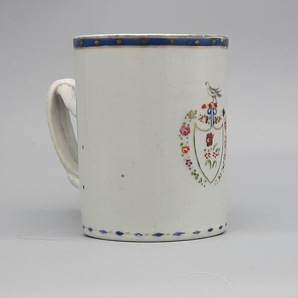 18th C. Chinese Export Pseudo-Armorial Famille Rose Mug or Cann