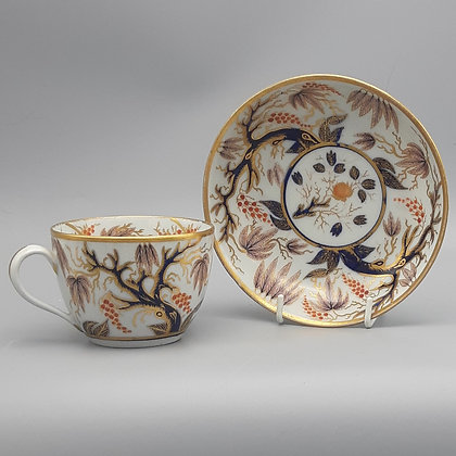 "19th C. New Hall Cup & Saucer – Pattern #446 ""Imari Vine"""