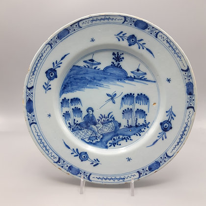 18th C. English Blue and White Delftware Chinese Pattern Plate