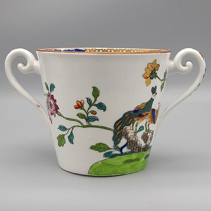 19th Century Spode Peacock Pattern Two-Handled Cup