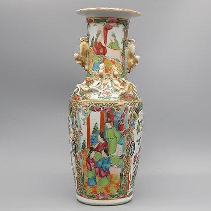 19th Century Chinese Export Canton Rose Mandarin Vase #1