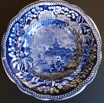 19th C. Staffordshire Transferware Chinoiserie American Market Plate - Clews