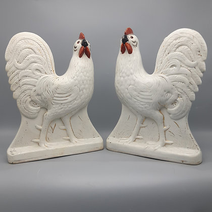 Pair of 19th C. Staffordshire Roosters or Cockerels