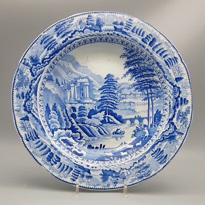 "19th C. Staffordshire Transferware Plate – ""Scene after Claude Lorraine """