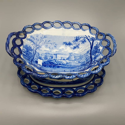 19th C. Historical Staffordshire Transferware Basket & Undertray
