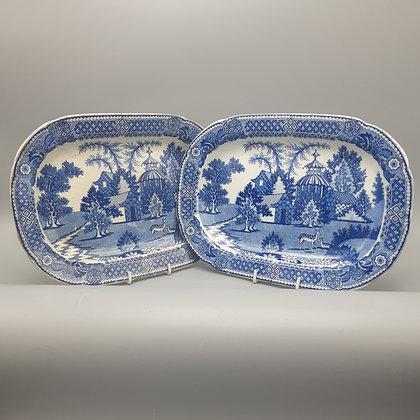 """Pair 19th C. Transferware Platters – """"Spotted Deer"""" Pattern"""