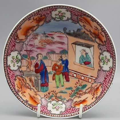 """19th C. New Hall Chinoiserie Dish – """"Boy in the Window"""" Pattern #1"""