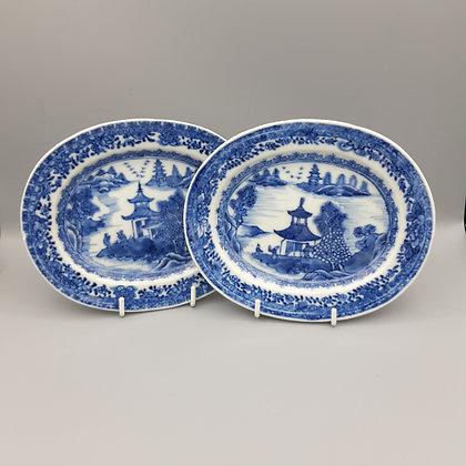 Pair 19th C Chinese Export Porcelain Miniature Nanking Platters