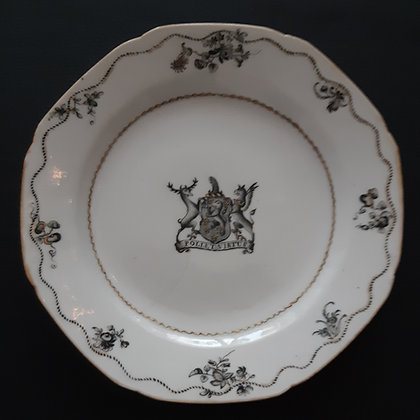 18th Century Chinese Export Porcelain Grisaille Armorial Plate - Poole
