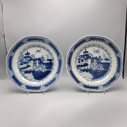 Pair 19th C. Chinese Export Canton Plates with Decorative Borders