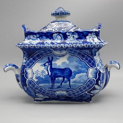 "19th C. Staffordshire Transferware Sugar Bowl – ""Tibetian Musk Deer"" Pattern"
