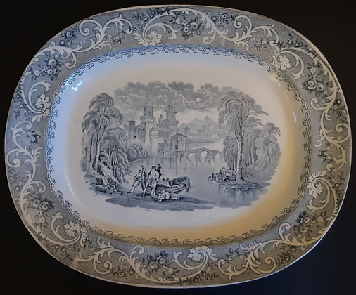 "Large 19th C. Staffordshire Transferware Platter – ""Rhine"" Pattern"