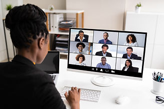 African Woman Video Conference Business