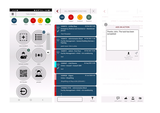 Incident Desk Mobile app dashboard list and chat.png
