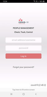 Incident Desk COVID-19 app login screen.