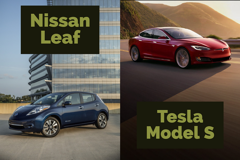 A comparison picture between a Nissan Leaf and a Tesla Model S