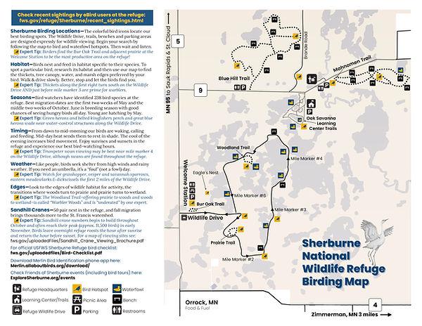 A map of birding and birdwatching hotspots on the Sherburne National Wildlife Refuge.  A Sherburne Bird Map.