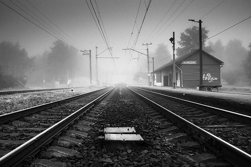 Foggy railway
